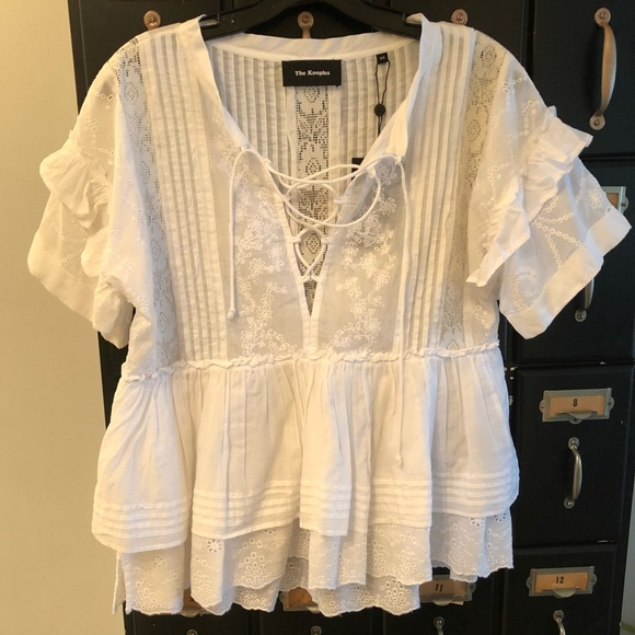 Sleeve Shirt TopsXs And Cotton White Kooples Lace Top The L4jcRq5S3A